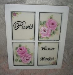 !  Shabby French Cottage Chic hp roses vintage window painting-shabby;chic;cottage;shabby cottage shops;decor;hand painted window;art;pink;roses;hp roses;vintage;g