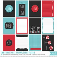 Free Christmas Twist Journal Cards | MissTiina.com {Blog} Use as labels also :)