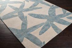 Escape Starfish Area Rug in White and Powder Blue