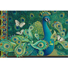 Stretched Canvas Art Paisley Animal Peacock by David Galchutt Ready to Hang – USD $ 34.99