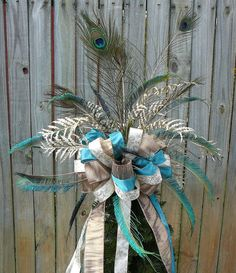 Christmas Tree Topper  Peacock Feather Bow  by HornsHandmade, $80.00