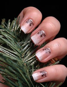 #nails Snowflake Half-Moon