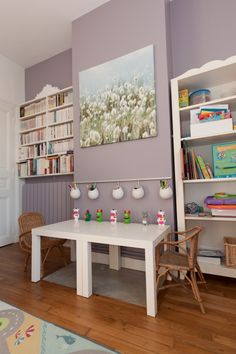 two small ikea tables pushed together - more versatile than large kids' table