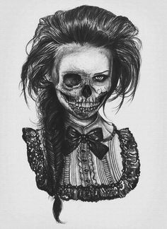 Victorian woman skeleton tattoo Skulls, Draw, Tattoo Ideas, Skull Tattoos, Art, Zombi, Fishtail Braids, A Tattoo, Skeleton
