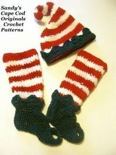 crochet elf hat and legwarmer on etsy