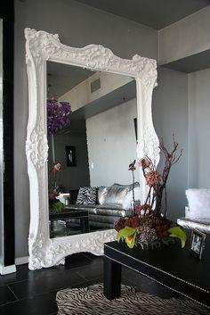 Huge White Mirror Solid Wood Hand Carved by Diva Rocker Glam (424) 245 4503, via Flickr
