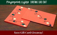 Easy Christmas Craft - fingerprint christmas lights card