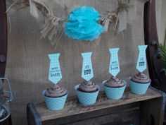Really cute father's day cupcakes from Father's Day Dessert Table via Kara's Party Ideas | Kara'sPartyIdeas.com #cute #fathers #day #cupcakes #supplies #ideas