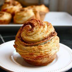 Morning buns using croissant dough, white & brown sugars, cinnamon and orange.