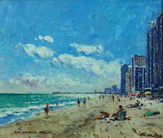 Niek Van Der Plas, Dutch B. 1954, 'Bal Harbor Beach', Oil On Panel, Signed