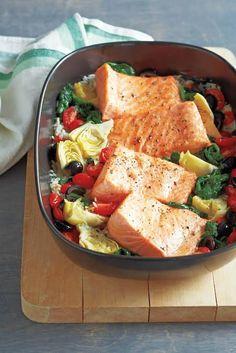 One-Pot Roasted Salmon on Mediterranean Vegetables & Rice—Recipe created by Carol Fenster of CarolFensterCooks.com