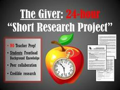 24-Hour research project frontloading background information on The Giver; students collaborate and teach each other about the author, dystopian genre, themes, Communism, and characteristics of The Giver and its series, which means NO unit prep for the teacher! (CCSS aligned)