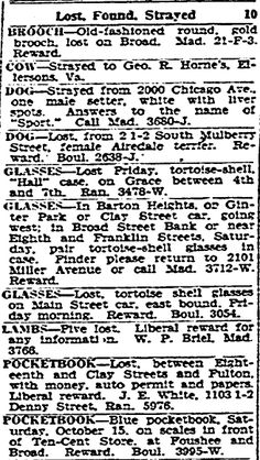 """Newspaper lost and found ads, published in the Richmond Times Dispatch (Richmond, Virginia), 18 October 1927. Read more on the GenealogyBank blog: """"How to Use Newspaper Lost & Found Ads for Genealogy Research."""" http://blog.genealogybank.com/how-to-use-newspaper-lost-found-ads-for-genealogy-research.html"""