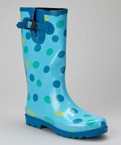 Look what I found on #zulily! Blue Polka Dot Puddletons Rain Boot - Women by Ranger #zulilyfinds -- just $24 plus shipping!!
