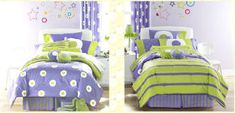 Kristen 39 s purple and lime green room on pinterest purple - Green and purple comforter ...
