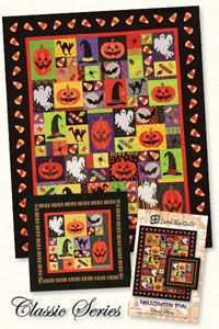 """Halloween Quilt Pattern by Lunch Box Quilts at KayeWood.com. This pattern collection contains nine Halloween embroidery machine appliqué designs.  Two patterns are included to make either a 37"""" X 35"""" wall hanging or a 54"""" X 66"""" quilt.  This pattern does not contain CD-ROM or electronic files. It contains nine full size applique shapes for use with your favorite method of applique.  Does Not Contain CD-ROM. http://www.kayewood.com/item/Halloween_Quilt_Pattern/3317 $18.00"""