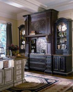 I want this black piece SOOOOOOO bad! decor, cabinets, kitchens, idea, kitchen cabinet, hearths, dream kitchen, venetian hearth, habersham