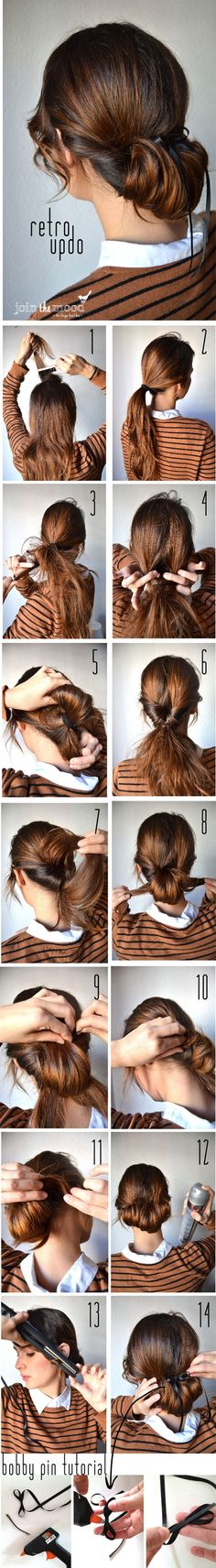 A Retro-Updo   This old-school style is so chic, plus the step-by-step tutorial means anyone can pull it off. It'd be perfect for a lazy Sunday when you're running errands but still want to look pulled together, but I'd skip the little black ribbon