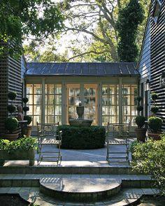 Breezeway/solarium cover walkway, house courtyard, patio, dogtrot house, breezeway ideas, maine house, metal roof porch, covered walkways, garden