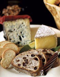 Holiday Appetizers - Cheese Platter with crusty white bread