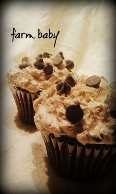 Chocolate Cupcakes with Chocolate Chip Cookie Dough Frosting!