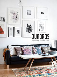 how-to hang paintings and make a gallery wall #decor #frames #walls #paredes #quadros