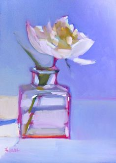 """'First Peony' - 6""""x6"""" original oil floral still life for sale by Maryann Lucas."""