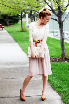 love the lace top, pink midi skirt