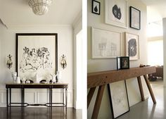 yes yes galleries, hallways, consol tabl, frames, art, gallery walls, montages, design, console tables