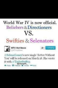 Beliebers & Directioners are like the biggest fandoms in the world!  Swifties and Selenators going down!!!!