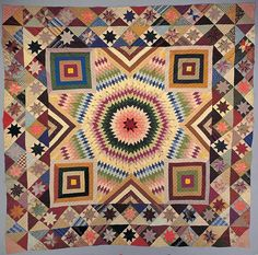 """New York, 1880–1900 """"Star of Bethlehem"""" Quilt is made entirely of silk in a pattern that could—and, thirty years earlier, probably would—have been made of cotton.  **American Folk Art Museum image gallery search:  http://www.folkartmuseum.org/collectiongallery"""