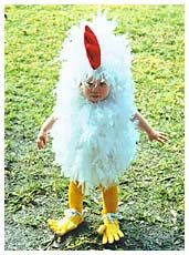 little chicken made from onesie and feather boa!