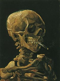 Vincent Van Gogh - Skull With Burning Cigarette. Whilst wandering around his museum in Amsterdam, it was not his sunflowers nor starry nights that caught my attention...it was this macabre artwork. Small but powerful...I love it. If only the alarms hadn't have gone off (just kidding!).