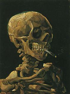 Vincent van Gogh - Skull with Burning Cigarette, 1885.