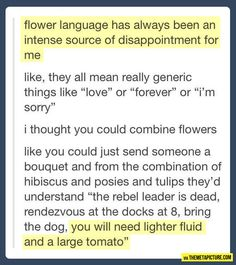 language of flowers, languages, lighter fluid, laugh, flower language, tumblr funny stuff, giggl, funni, larg tomato