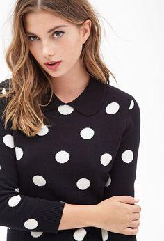 Collared Polka Dot Sweater #F21StatementPiece