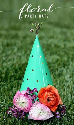 Deck out plain party hats with metallic accents and flowers!