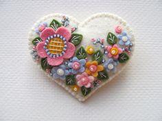 Beaded Felt  Heart - flowers
