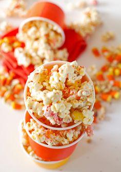 Make Halloween popcorn mix with this recipe.