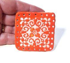 Basket Base 1 Square to Round Ceramic Start for Pine Needle Basket Beading Crafts on Etsy, $10.00