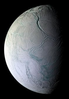 Enceladus, Saturn's tiny moon (310mi dia)  churns with internal heat,ejecting plumes of microscopic ice particles into Saturn's orbit. Photo from the Cassini orbiter in 10/08, NASA. #Enceladus #Saturn #Astronomy #NASA #Cassini_Orbiter