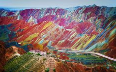 """Zhangye Danxia Geological Park in Gansu Province, China. Real picture - """"Rainbow Mts."""""""