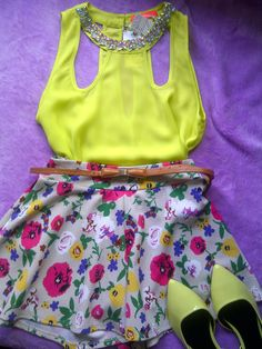 neon sequined top, floral flared shorts and neon flats
