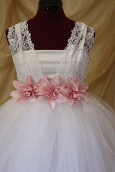 Flower Girl Tutu Dress elegant bridesmaid chic with by VanelDesign. Adorable! if only the flowers were a bit more raspberry ;)