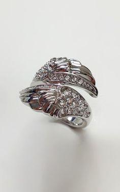 Crystal & Silver Wings Ring