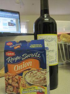 Pork Tenderloin - onion soup mix, red wine - reduce recipe to 1 TBSP soy