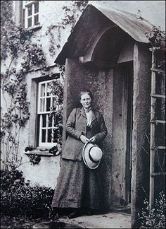 """Beatrix Potter at her home """"Hill Top Farm"""" - this photo was taken sometime after 1905"""