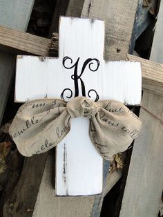 Monogram Wooden Distressed Cross with Script by MagnoliaMarket, $25.00