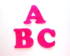 Pink Magenta Felt Alphabet Letters  Fabric by NewEnglandQuilter, $7.50