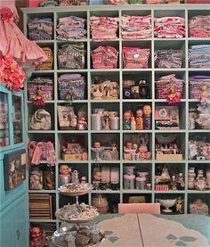 studio photos, craft supplies, vintage crafts, shelving units, sew room, cubbi, storage ideas, lilli lace, craft rooms